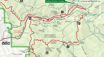 Click Here To See A Larger Map Of Yosemite National Park Road